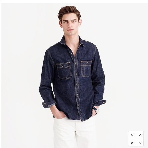 7c987b04e7 NWT J Crew Indigo long sleeve Denim Shirt. Size M
